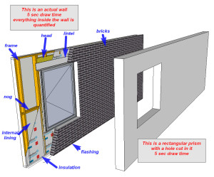 Wall with PlusSpec and wall with Sketchup