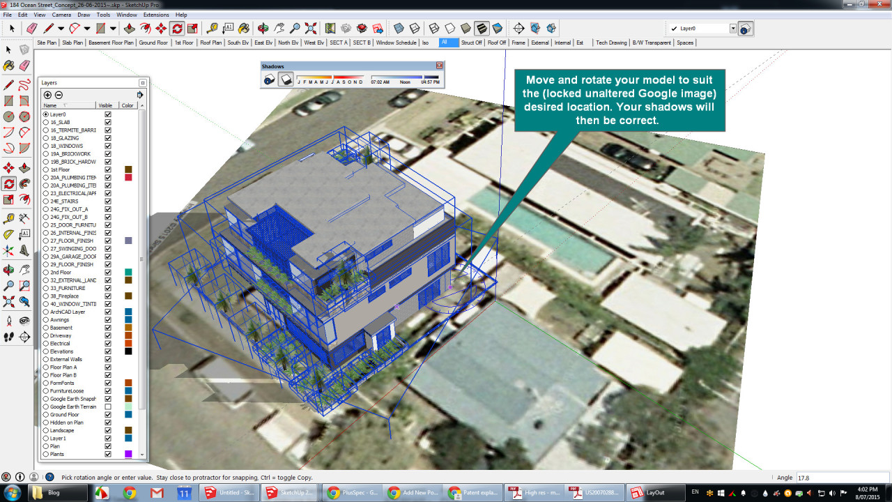 Drawing off axis in Sketchup or over a Google earth image