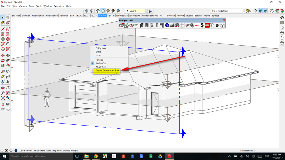 Select the section plane in Sketchup 3d model and create component