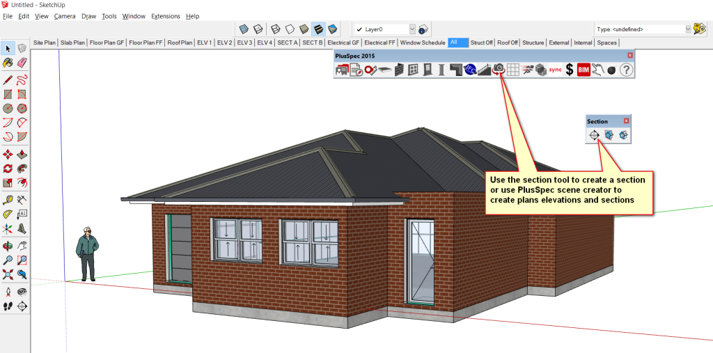 Use Sketchup section tool or PlusSpec scene creator to create a 3d section cut in your 3d model